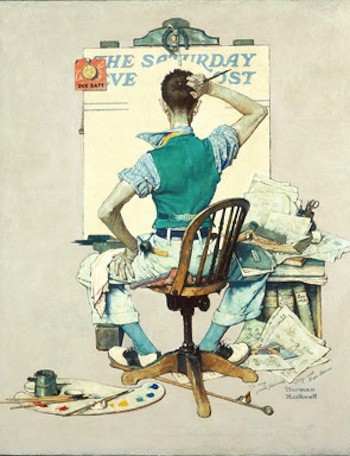 Norman Rockwell, Artist Facing Blank Canvas (The Deadline). Cover illustration for The Saturday Evening Post, October 8, 1938. Norman Rockwell Museum Collections ©1938: SEPS.