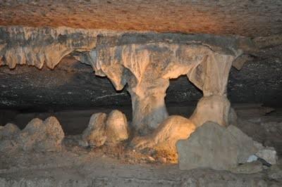 Natural columns inside War Eagle Cavern