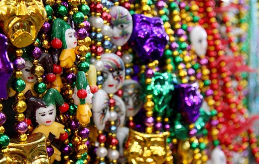Eureka Gras beaded necklace throws